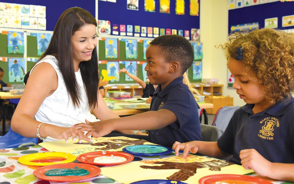 Pre-School children learning through art - finger painting
