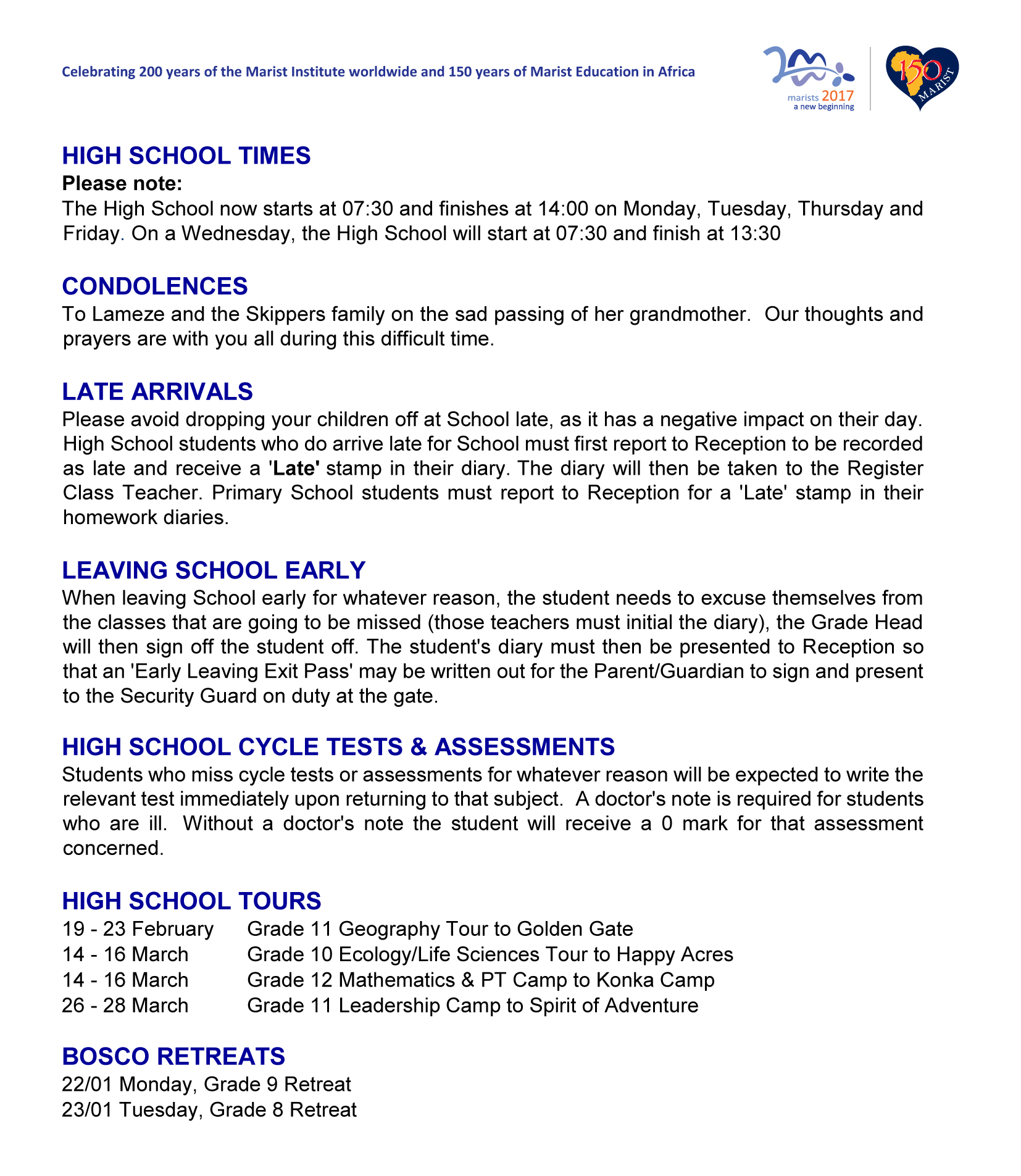 Weekly Newsletter – Friday 19 January 2018 - Marist Brothers