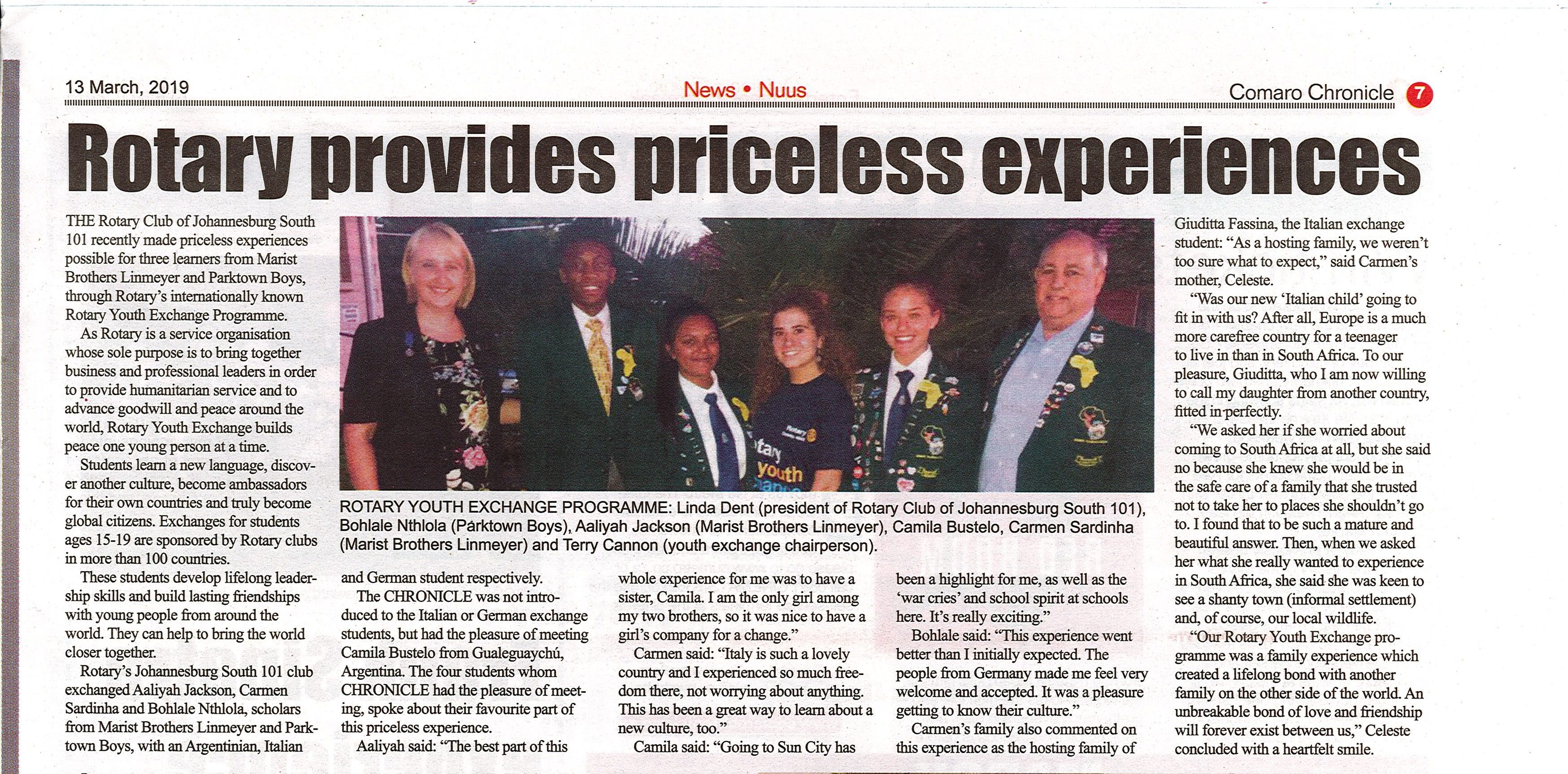Comaro Chronicle - 13 March 2019 - Rotary Youth Exchange students