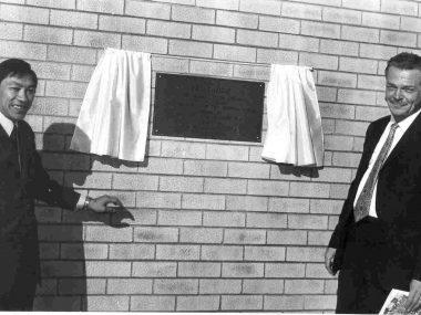 1971: New science lab plaque